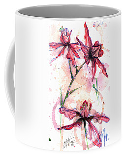 Coffee Mug featuring the painting Shiraz Orchids I by Ashley Kujan