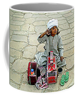 Coffee Mug featuring the digital art Shoeshine Girl - Nile River, Egypt by Joseph Hendrix