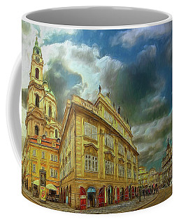 Coffee Mug featuring the photograph Shooting Round The Corner - Prague by Leigh Kemp