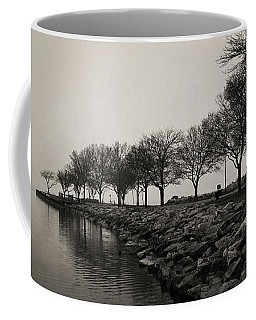 Coffee Mug featuring the photograph Shoreline Mist by Shawna Rowe
