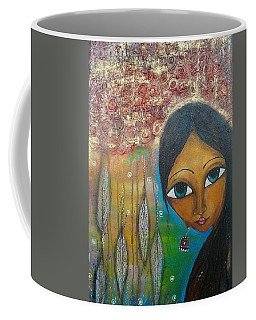 Coffee Mug featuring the mixed media Shower Of Roses by Prerna Poojara