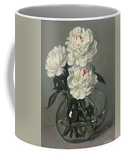 Showy White Peonies In Glass Pitcher Coffee Mug
