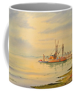 Coffee Mug featuring the painting Shrimp Boat Sunset by Bill Holkham