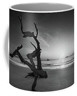 Shrimp Boats And Driftwood In Black And White Coffee Mug
