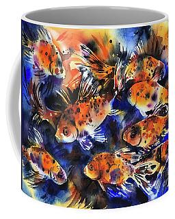 Coffee Mug featuring the painting Shubunkin Goldfish by Zaira Dzhaubaeva