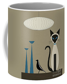 Coffee Mug featuring the digital art Siamese Cat With Eames House Bird by Donna Mibus