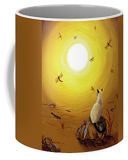 Siamese Cat With Red Dragonflies Coffee Mug by Laura Iverson
