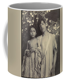 Coffee Mug featuring the painting Sicilian Boy And Girl Before Floral Textile by Artistic Panda