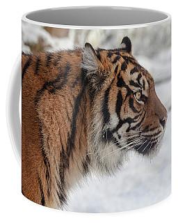 Side Portrait Of A Sumatran Tiger In The Snow Coffee Mug