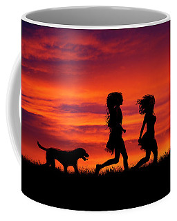 Silhouette Of Two Girls And Dog Coffee Mug
