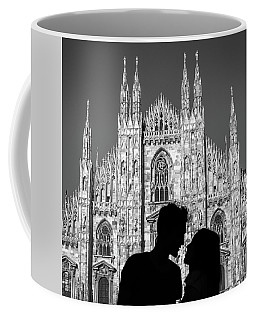 Silhouette Of Young Couple Kissing In Front Of Milan's Duomo Cathedral Coffee Mug