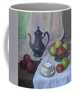 Silver Coffeepot, Apples, Green Footed Bowl, Teacup, Saucer Coffee Mug