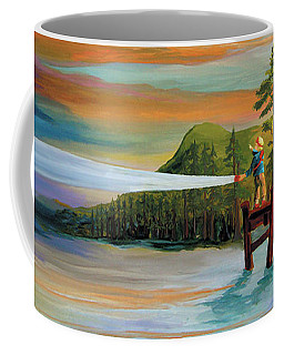 Coffee Mug featuring the painting Silver Lake by Donna Hall