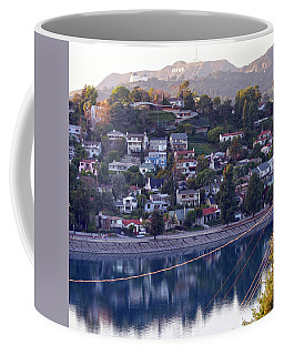 Silver Lake Reservoir With Griffith Observatory And Hollywood Sign Coffee Mug