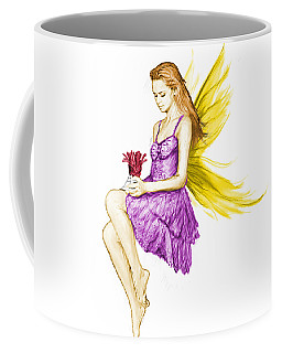 Silver Maple Tree Fairy Holding Flower Coffee Mug