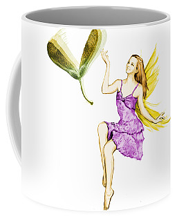 Silver Maple Tree Fairy Tossing Seeds Coffee Mug