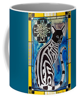 Silver Tabby With Mandala - Cat Art By Dora Hathazi Mendes Coffee Mug