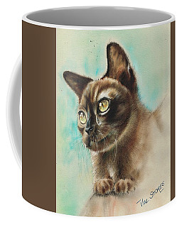 Coffee Mug featuring the mixed media Simba by Val Stokes