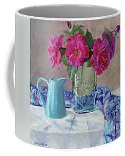Simple Things - Pink Roses In An Old Mason Jar Coffee Mug