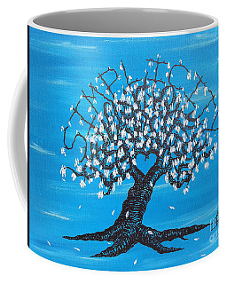 Coffee Mug featuring the drawing Simplicity Love Tree by Aaron Bombalicki