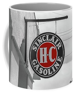 Coffee Mug featuring the photograph Sinclair Gasoline Round Sign In Selective Color by Doug Camara