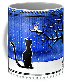 Coffee Mug featuring the painting Sing For Me - Black Cat Card by Dora Hathazi Mendes