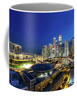 Singapore Central Business District Cityscape At Blue Hour Coffee Mug
