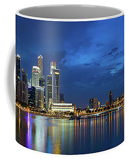Singapore Skyline At Blue Hour Panorama Coffee Mug