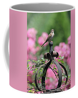 Coffee Mug featuring the photograph Singing Song Sparrow by Trina Ansel