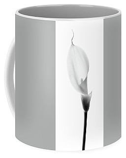Coffee Mug featuring the photograph Single Cala Black And White by Rebecca Cozart