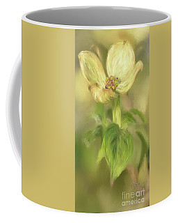 Coffee Mug featuring the digital art Single Dogwood Blossom In Evening Light by Lois Bryan