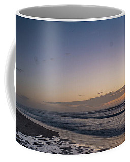 Single Man Walking On Beach With Sunset In The Background Coffee Mug