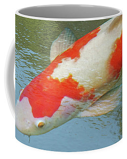 Coffee Mug featuring the photograph Single Red And White Koi by Gill Billington