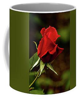 Single Red Rose Bud Coffee Mug