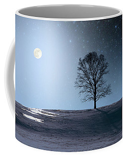 Coffee Mug featuring the photograph Single Tree In Moonlight by Larry Landolfi