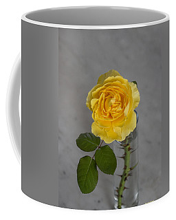 Single Yellow Rose With Thorns Coffee Mug