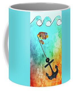 Coffee Mug featuring the mixed media Sink Or Swim By Kaye Menner by Kaye Menner