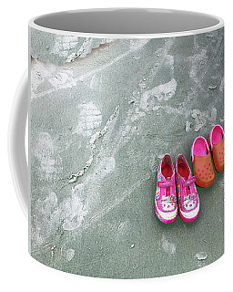 Coffee Mug featuring the photograph Sisters Playing Barefoot In The Sand by Rick Locke