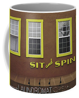 Coffee Mug featuring the mixed media Sit And Spin Laundromat Color- By Linda Woods by Linda Woods