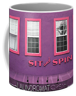 Coffee Mug featuring the mixed media Sit And Spin Laundromat Purple- By Linda Woods by Linda Woods