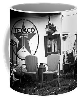 Sitting At The Texaco Black And White Coffee Mug