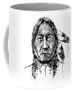 Coffee Mug featuring the mixed media Sitting Bull Black And White by Marian Voicu
