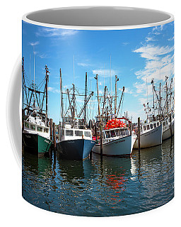 Coffee Mug featuring the photograph Six Boats In The Bay by John Rizzuto