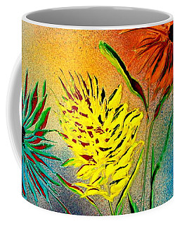 Coffee Mug featuring the painting Six Flowers - E by Greg Moores