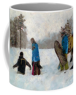 Six Sledders In The Snow Coffee Mug