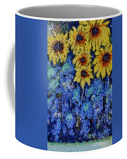 Coffee Mug featuring the photograph Six Sunflowers On Blue by Claire Bull