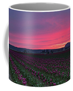 Coffee Mug featuring the photograph Skagit Valley Burning Skies by Mike Reid