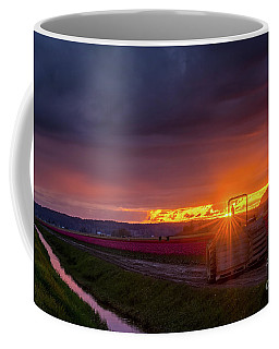 Coffee Mug featuring the photograph Skagit Valley Tractor Sunstar by Mike Reid