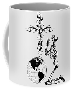 Skeleton Pryaing Cross Globe Coffee Mug by Robert G Kernodle