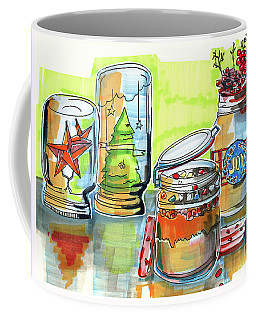 Coffee Mug featuring the drawing Sketch Of Winter Decorative Jars  by Ariadna De Raadt